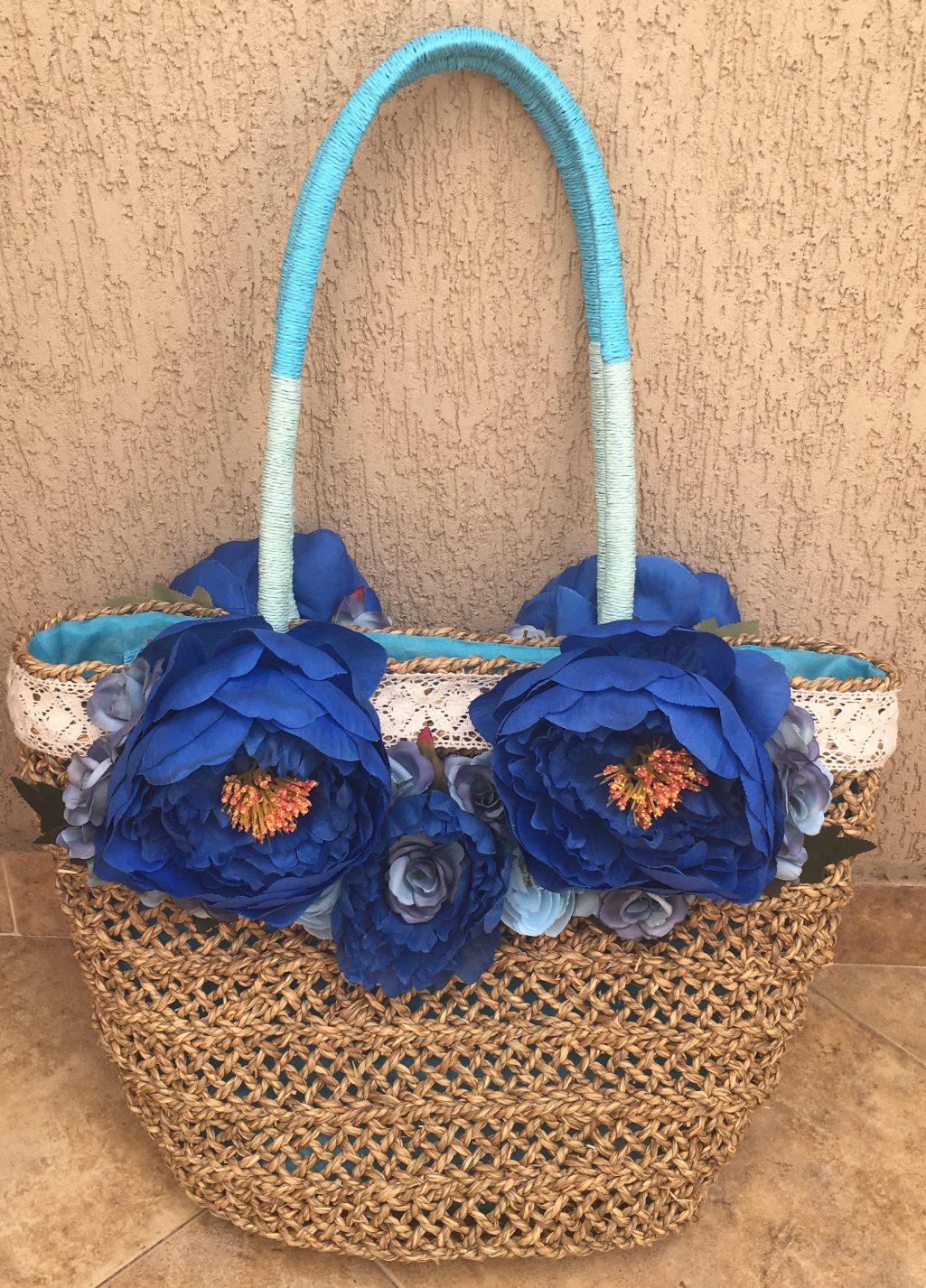 чанта с декорирани цветя