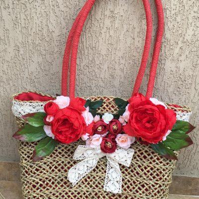 ръчно декорирана плажна чанта