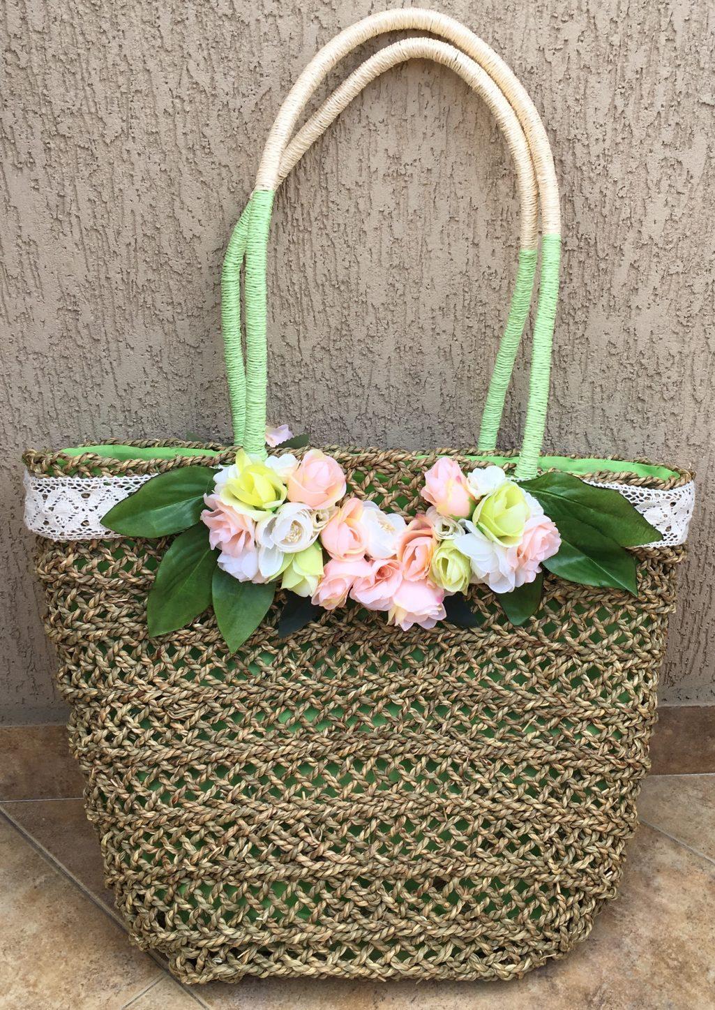 сламена чанта с цветя