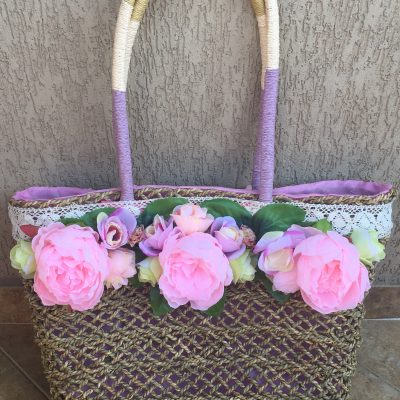 плетена плажна чанта с цветя